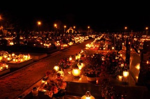 Candle flames illuminating on cemetery during All Saint's Day